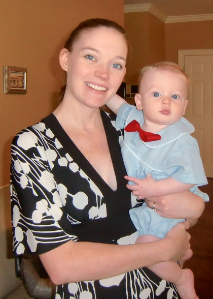 momma and J in his bowtie