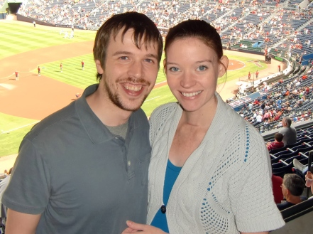 D and R at baseball game, thyroidectomy scar, 9 months pregnant