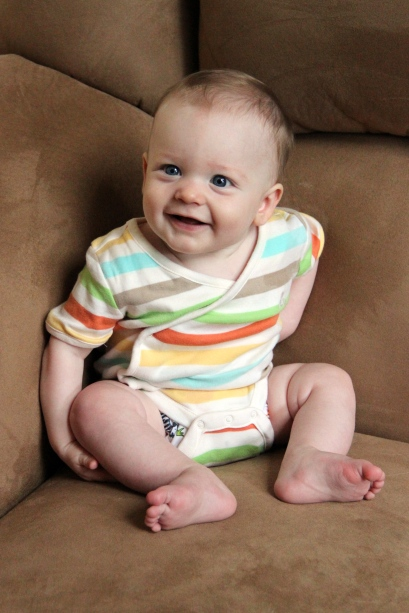 baby six months smiling